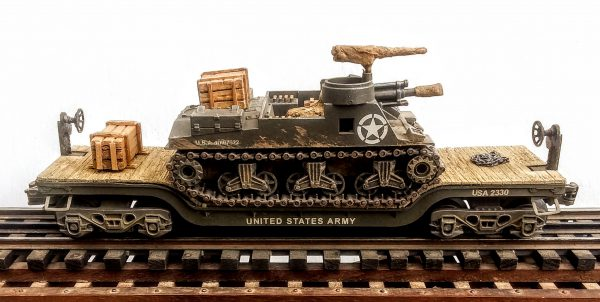"""US Army M7B1 Priest 105mm Self-Propelled Howitzer on 35′ Drop Center Flat Car USA 2330(AV15.1-FC5.2USA)_Operates on 3-Rail """"O""""Gauge track • Available Today •"""