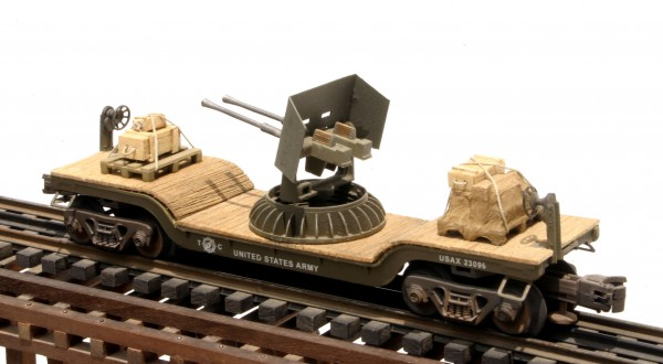 US Army Twin AA Gun w/Ammo Supplies & Gun Shield on 32′ Drop Center Flat Car USAX 23096(AR9.1-FC5.2USA)