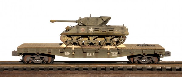 "US Army M10 Tank Destroyer on 42′ Flat Car USAX 23432(AV14.1OS-FC3.2USA)_Operates on 3-Rail ""O""Gauge track"