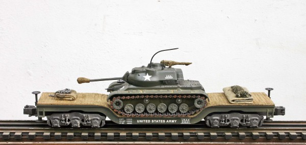 US Army M47 Patton on 45′ Drop Center Flat Car USAX 23031(AV16-FC8.2USA)