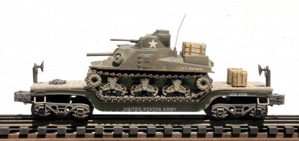 "US Army M3 General Lee Tank on 35′ Drop Center Flat Car USAX 2328(AV17-FC5.2USA)_Operates on 3-Rail ""O""Gauge track"