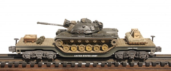 "US Army M48A3 Patton Tank, Vietnam, on 45′ Drop Center Flat Car USAX 17440(AV19-FC8.2USA)_Operates on 3-Rail ""O""Gauge track"