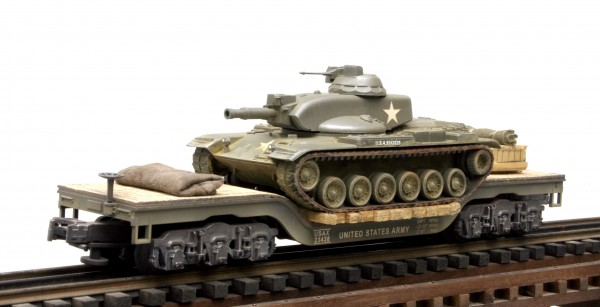 """US Army M60A1E1 Tank, Vietnam, on 45′ Drop Ctr Flat Car USAX 23438(AV25-FC8.2USA)_Operates on 3-Rail """"O""""Gauge track • Available Today •"""