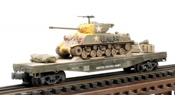 "US Army M4A3E8 ""Easy Eight-Tiger Face"" Korean Era Tank on 42′ Flat Car USAX 23022(AV3.3B2-FC3.2USA)_Operates on 3-Rail ""O""Gauge track"