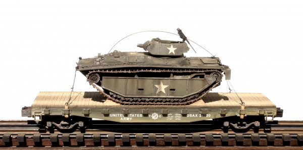 "US Army LVT(A)4 w/75mm Gun Turret on 42′ Flat Car USAX 24720(BSA9.1-FC3.2USA)_Operates on 3-Rail ""O""Gauge track"
