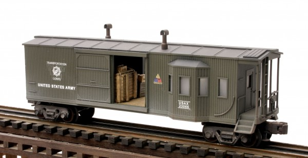 "US Army Combo Bay Window Caboose-Freight Car USAX 23066, Lighted, (CAB10USA)_Operates on 3-Rail ""O""Gauge track"