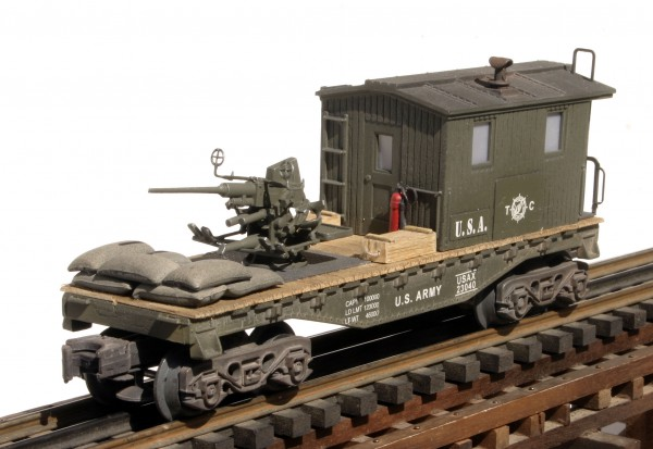 US Army Transport Caboose w/40mm AA Gun USAX 23040(CAB1B-FC1.2USA)