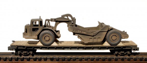 "US Army Corps of Engineers Motorized Pan Scraper on 50′ Flat Car USAX 23457,Vietnam, (EME 17-FC6.2USA)_Operates on 3-Rail ""O""Gauge track"
