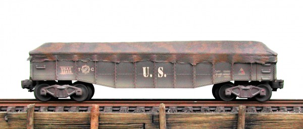 "US Army 38′ GONDOLA w/Camo Covered Load USAX 23438(GON4USA)_Operates on 3-Rail ""O""Gauge track"