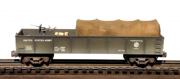 "US Army 42'Gondola w/20mm AA Gun, Tarp Cover & Assorted Supplies USAX 23439(GON8.4USA)_Operates on 3-Rail ""O""Gauge track"