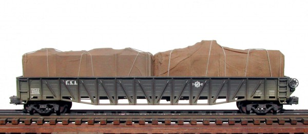 "US Army 53′ War Emergency Gondola w/Split Tarp Covered Load USAX 23096(GON9.2USA)_Operates on 3-Rail ""O""Gauge track"