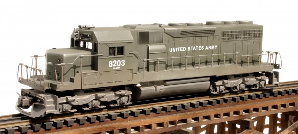 "US Army SD-40 Diesel Locomotive 8203(L18210USA-OD)_Operates on 3-Rail ""O""Gauge track"