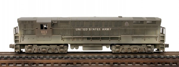 "US Army FM Diesel Locomotive 863(L6-18309USA-OD)_Operates on 3-Rail ""O""Gauge track"