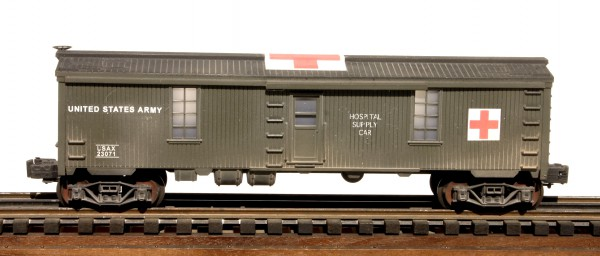 "US Army Hospital Supply Car USAX 23071, Lighted, (SC1.2USA)_Operates on 3-Rail ""O""Gauge track"