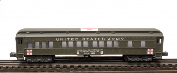 "US Army 60′ Troop Hospital Ward Car, Lighted, runs on O-31 track, U.S.A.4258(SC13BUSA)_Operates on 3-Rail ""O""Gauge track"