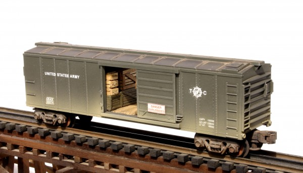 "US Army Steel Sided Box Car w/Ammo Cases & Supply Crates USAX 23074(SC16CUSA(No Bombs))_Operates on 3-Rail ""O""Gauge track"