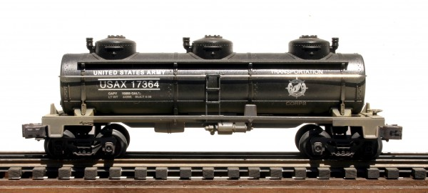 "US Army 3-Dome Tank Car – Black USAX 17364(SC3B.USA_Operates on 3-Rail ""O""Gauge track"