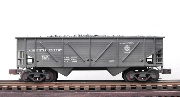 "US Army 40' O.B. Composite 2-Bay Coal Hopper w/Coal Load USAX 26721(SC6.2USATC)_Operates on 3-Rail ""O""Gauge track"