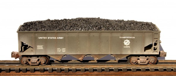 "US Army 4-Bay Coal Hopper w/Coal Load USAX 23428(SC6USATC)_Operates on 3-Rail ""O""Gauge track"