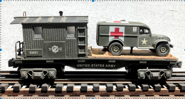"""US Army WC54 Dodge Ambulance on 32′ Transport Caboose 23521(CAB4B.2-FC1.2USA)_Operates on 3-Rail """"O""""Gauge track  • Available Today •"""