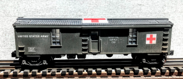 """US Army Hospital Supply Car USAX 23071, Lighted, (SC1.2USA)_Operates on 3-Rail """"O""""Gauge track • Available Today •"""