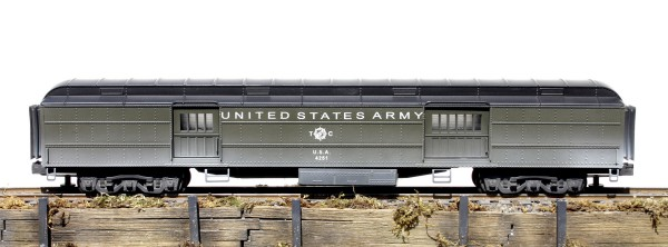 "US Army 72′ Troop Heavyweight Baggage Car U.S.A. 4251(SC10C.1USA)_Operates on 3-Rail ""O-72"" Gauge track"
