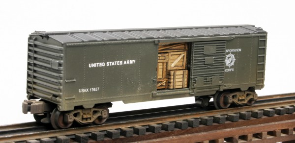 "US Army Steam ""RailSounds"" Box Car with Door Cargo Insert USAX 17457(SC11.1USA)_Operates on 3-Rail ""O""Gauge track"