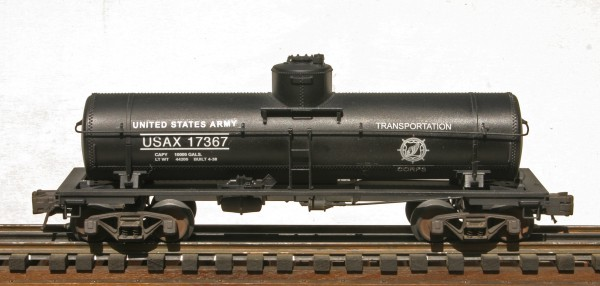 """US Army 1-Dome Tank Car USAX 17367(SC3A.USA)_Operates on 3-Rail """"O""""Gauge track • Available Today •"""