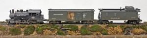 """SET DEMO NO.16(PHOTO NO. 3009) L-28600USA_Base Steam Loco, SC11.1USA_Steam """"RailSounds"""" Box Car, CAB12USA_Wood-Sided Caboose"""