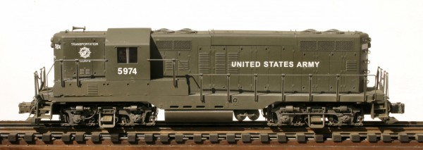 "US Army GP-9 Diesel Locomotive 5974(A1408-1USA-OD)_Operates on 3-Rail ""O""Gauge track"