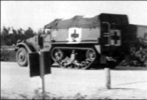 M-3 Halftrack Ambulance near Anzio, Italy.