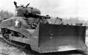 M4 Sherman medium tank equipped with bulldozer blade, circa 1944