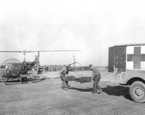Bell H-13 Sioux Helicopter (left) and Dodge WC54 3/4-ton 4x4 ambulance.