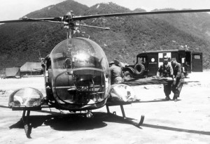 Bell H-13 Sioux - Light Utility / Observation Helicopter, M43 3/4-ton Dodge Ambulance.jpg