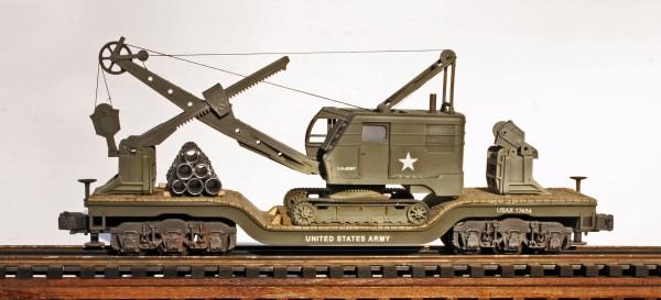 U.S. Army Crawler Shovel on 45′ Drop Center Flat Car USAX 17454(EME26-FC8.2BUSA)