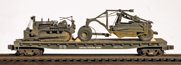 U.S. Army TD-24 Bulldozer & Le Tourneau Scraper on 50′ Flat Car USAX 17446(EME31-FC6.2USA)
