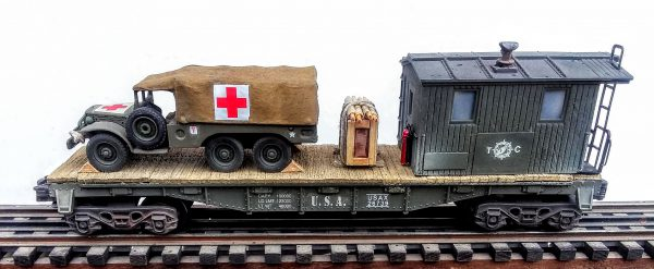 "US Army WC63 Dodge 6×6 Ambulance on 40′ Transport Caboose USAX 26739, Lighted, (CAB4G.2-FC2.2USA)_Operates on 3-Rail ""O""Gauge track"