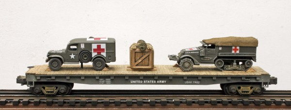 "US Army WC54 Ambulance & M3 HalfTrack Ambulance on 50′ Flat Car, USAX 17452(MV3A-5A-FC6.2USA)_Operates on 3-Rail ""O""Gauge track"