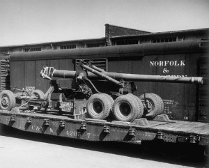 """Flat CarLoad_155mm"""" Long Tom"""" Field Gun"""