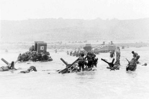 D-Day, June 6, 1944, Sherman No.10 w:deep water funnels going ashore