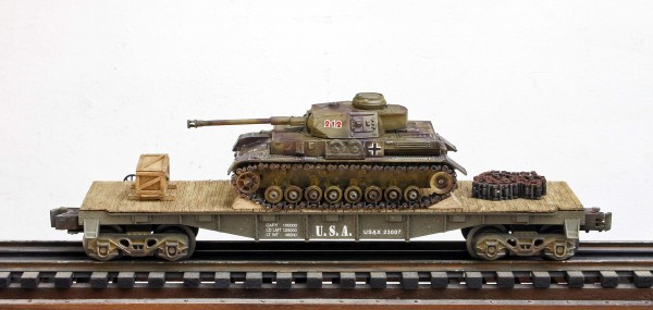 """US Army Captured WWII German Pz IV Tank 212 on U.S. Army 40` Flat Car USAX 23007(CAPAV1.1-FC2.2USA/GER)_Operates on 3-Rail """"O""""Gauge track • Available Today •"""