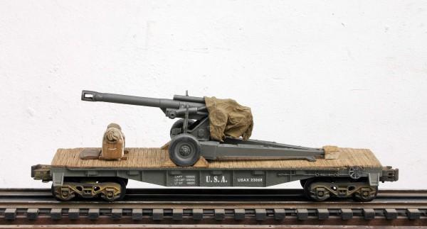 US ARMY 155mm Howitzer on 40′ Flat Car USAX 23068(AR2.1-FC2.2USA)