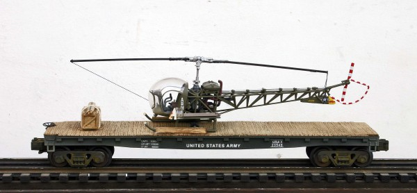 U.S. Army H-13 Sioux Evacuation Helicopter on 47′ Flat Car, Korean War-Vietnam USAX 23549(HELI13S.1-FC11.2USA)