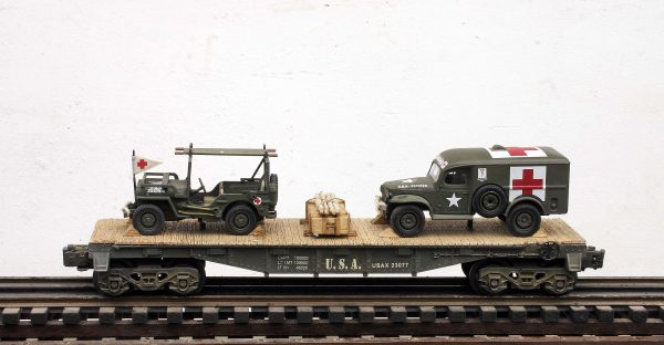 US Army WC54  Dodge Ambulance & Jeep Stretcher Ambulance/40′ Flat Car USAX 23077(MV3A-4C-FC2.2USA)