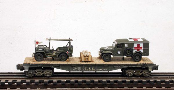 US Army WC54  Dodge Ambulance & Jeep Stretcher Ambulance/40′ Flat Car USAX 23077(MV3A-4C-FC2.2USA)