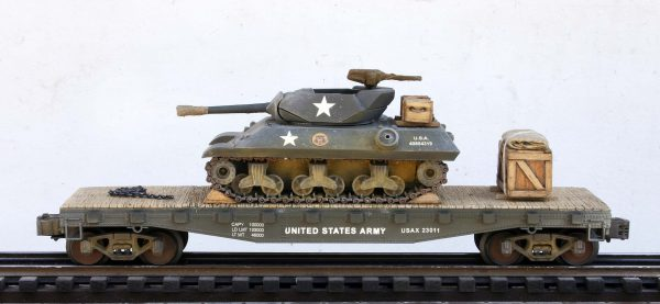"US Army M10 Tank Destroyer on 42′ Flat Car USAX 23011(AV14-FC3.2USA)_Operates on 3-Rail ""O""Gauge track"