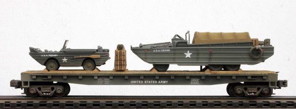 US Army Amphibious GPA Jeep & GMC DUKW on a 50′ Flat Car USAX 23533(MV26-FC6.2USA)