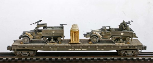 "US Army M16 Half-Track w/AA guns & M3A1 Half-Track w/50 cal Gun Ring on 50′ Flat Car USAX 23027(MV5DF-FC6.2USA)_Operates on 3-Rail ""O""Gauge track"