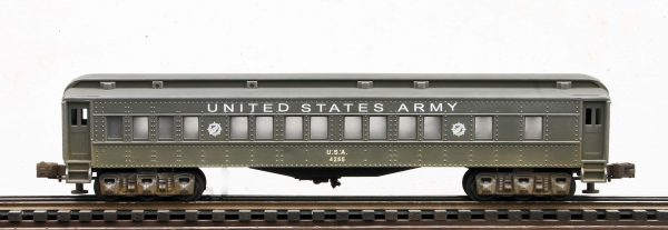 "US Army 60′ Troop Passenger Car, Lighted, runs on O-31 track U.S.A.4255(SC13AUSA)_Operates on 3-Rail ""O""Gauge track"