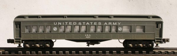 "US Army 60′ Troop Passenger Car, Lighted, runs on O-31 track U.S.A.4257(SC13AUSA)_Operates on 3-Rail ""O""Gauge track"